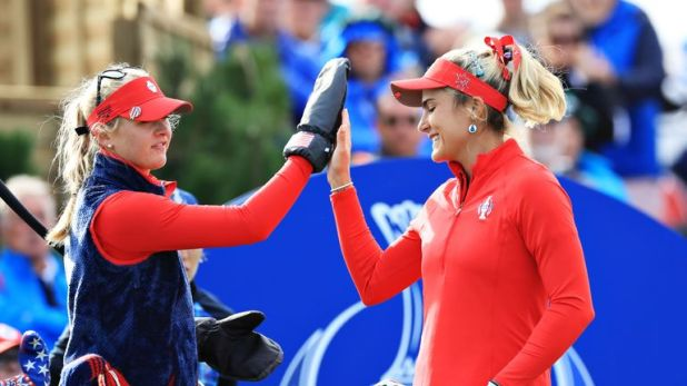 Jessica Korda and Lexi Thompson snatched a half on the last hole
