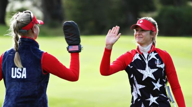 The Korda sisters earned the first point of the 16th Solheim Cup