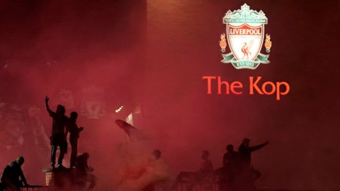 Liverpool fans outside Anfield after Reds win over Chelsea