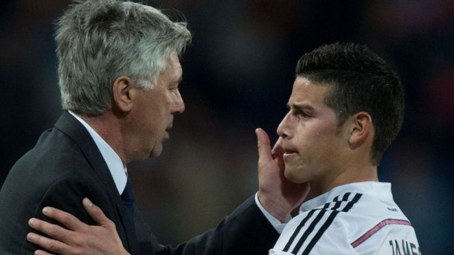 Ancelotti has previously managed James at Real Madrid and Bayern Munich