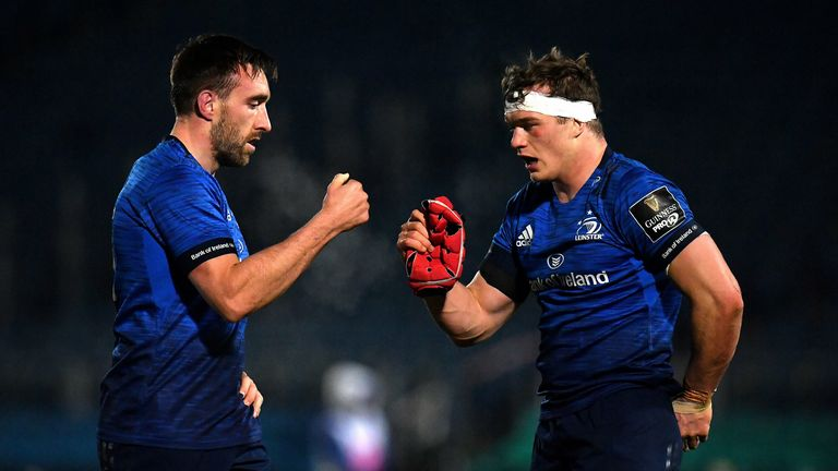 Jack Conan (L) and Josh van der Flier of Leinster fist bump