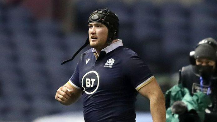Zander Fagerson was shown a red card for making contactwith Alun Wyn Jones' head when launching himself into a ruck
