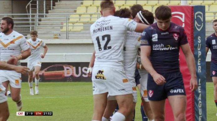 Highlights as Catalans Dragons became the first team to defeat St Helens in the Betfred Super League in 2021