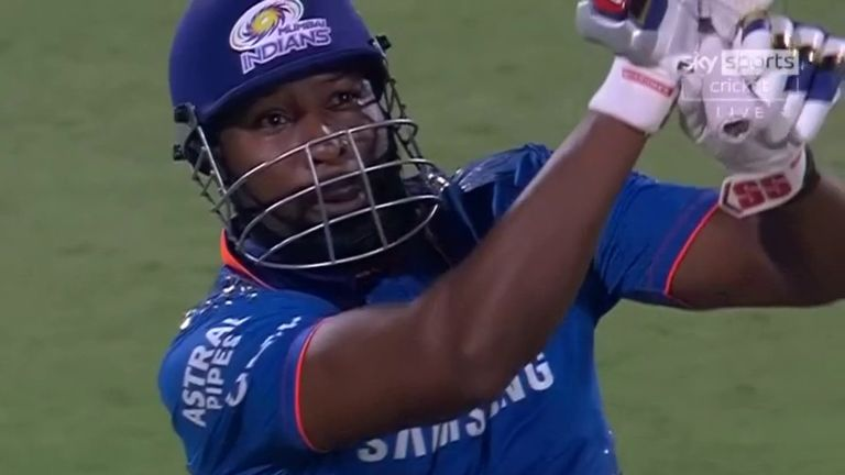 Kieron Pollard smashed eight sixes as Mumbai Indians chased down 219 to beat Chennai Super Kings