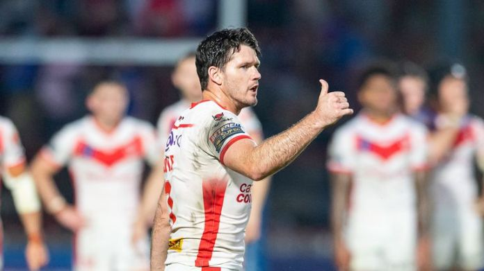 Lachlan Coote thanks the fans for their support after victory over Wakefield.