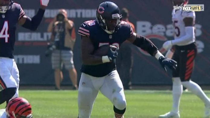 Chicago Bears linebacker Roquan Smith intercepted Cincinnati Bengals quarterback Joe Burrow and rumbled into the end zone for a 53-yard pick-six.