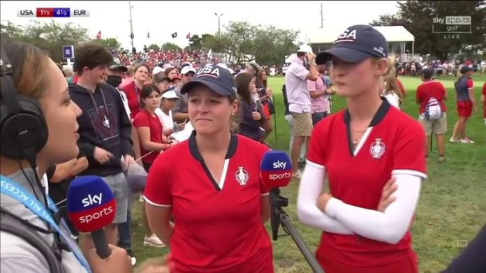 Nelly Korda and Ally Ewing give their verdict on their narrow fourballs win and the contentious rules incident at the par-five 13th