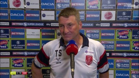 Tony Smith gives his reaction after Hull KR beat Warrington Wolves to reach the Super League play-off semi-finals