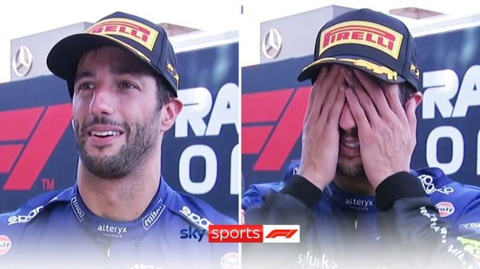 After winning his first race for McLaren, Daniel Ricciardo was clearly emotional when speaking with Sky F1's Rachel Brookes