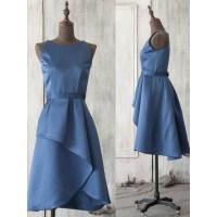 Vintage Horizon Blue Bridesmaid Dresses, Modest Scoop Neck ...
