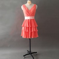 Elegant Watermelon Bridesmaid Dresses With A Pink Ribbon ...
