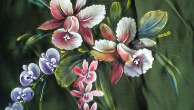 orchid fabric painting design