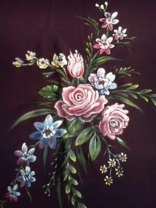 fabric painting rose motif design
