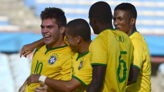 Nathan celebrates after scoring against Peru during their South American U-20 football match