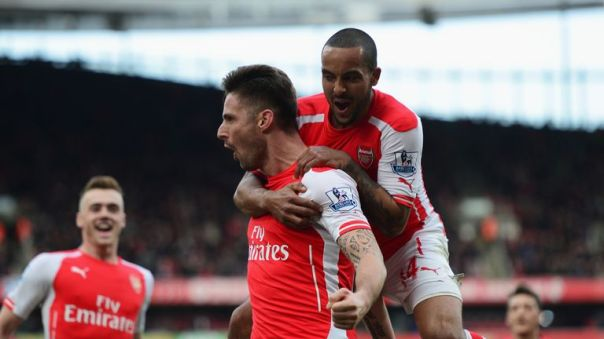 Olivier Giroud and Theo Walcott are competing for a single striker's position at Arsenal