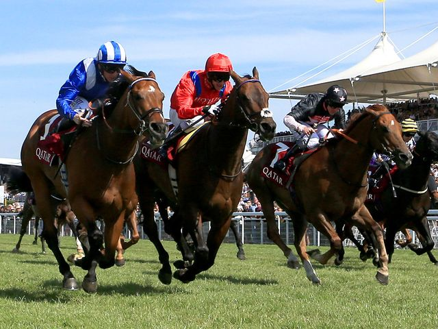 Muthmir beats Take Cover to win the King George Stakes at Glorious Goodwood