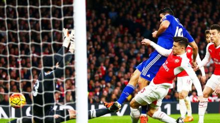 Diego Costa scores the only goal of the game against Arsenal