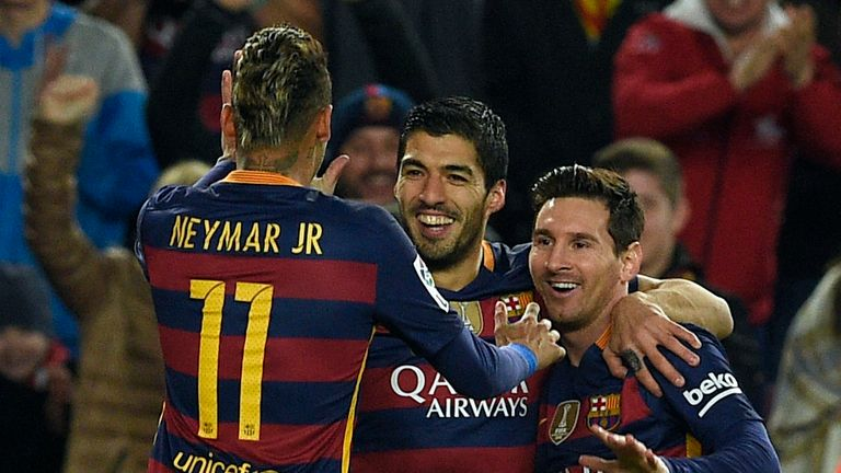 Neymar, Suarez and Messi celebrate at the Nou Camp