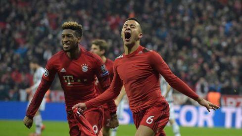 Thiago wheels away in celebration after scoring Bayern's third goal