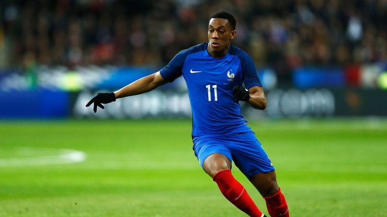 Manchester United forward Anthony Martial has been named in France's 23-man squad