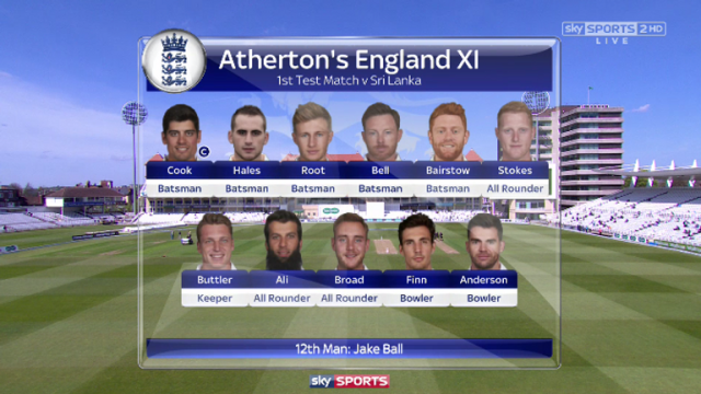 Michael Atherton's XI sees a recall for Ian Bell
