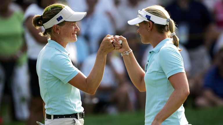 Catriona Matthew (L) and Sorenstam have played together in the past at the Solheim Cup