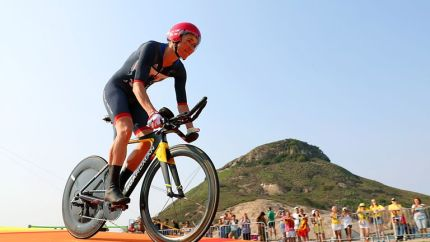 Great Britain's Dame Sarah Storey on her way to gold in the time trial