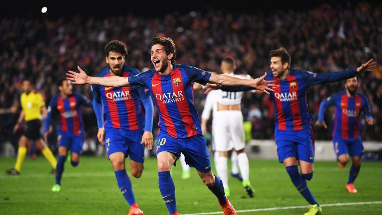 Sergi Roberto celebrates scoring Barca's sixth goal