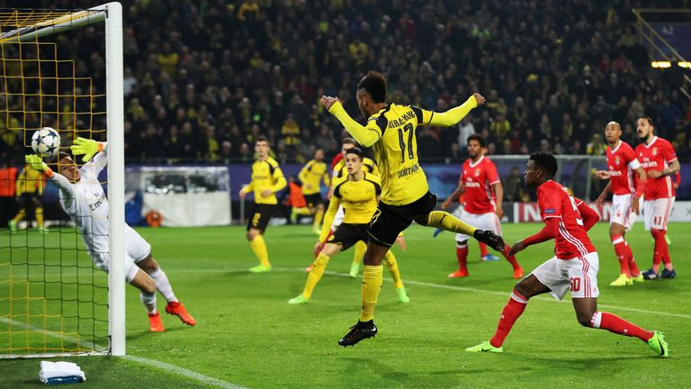 Aubameyang headed in the first goal for Borussia Dortmund against Benfica