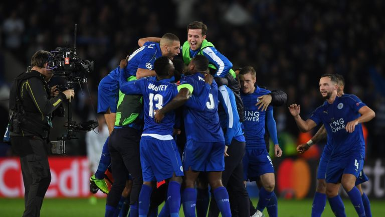Leicester celebrate their remarkable Champions League victory over Sevilla