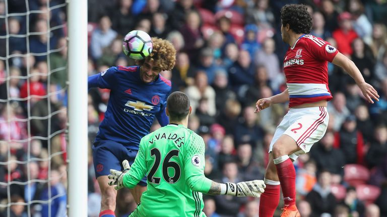 Fellaini directs a header past Victor Valdes to score the opening goal at the Riverside