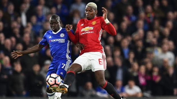 N'Golo Kante and Paul Pogba in battle during March's FA Cup tie