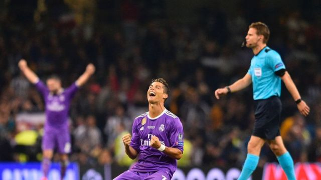 Cristiano Ronaldo falls to his knees at the final whistle