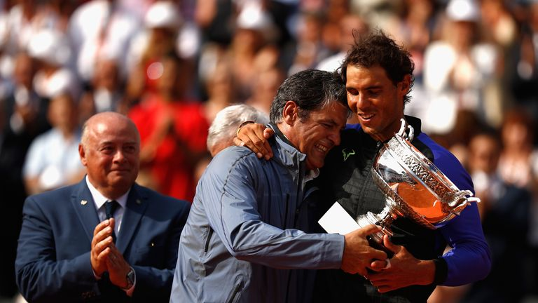Image result for rafael nadal and toni nadal french open final 2017