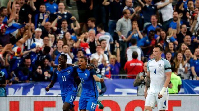Ousmane Dembele celebrates scoring France's winner at the Stade de France