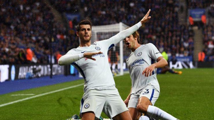 Alvaro Morata celebrates scoring for Chelsea at Leicester