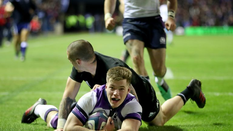 Huw Jones went over for a try in Scotland's tight loss to New Zealand