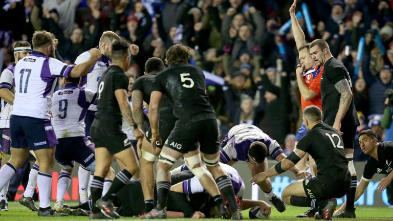 Jonny Gray went over for Scotland's first try against the All Blacks at Murrayfield