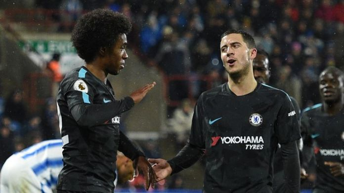 Willian celebrates with Eden Hazard after scoring