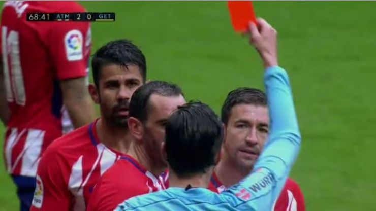 Costa was shown a second yellow card and then a red for over-celebrating