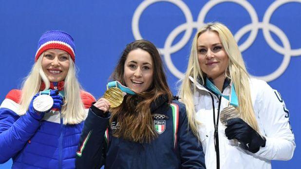 Vonn (R) won bronze at this year's Pyeongchang Winter Olympics