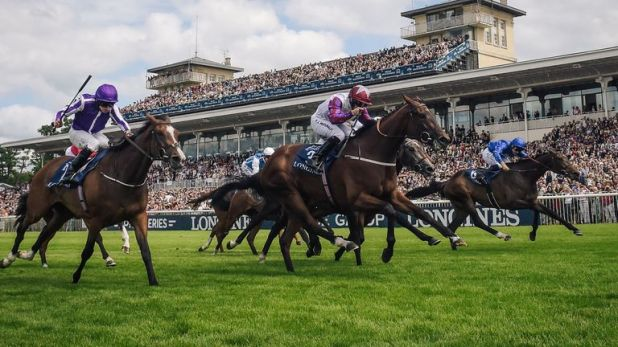 Laurens (centre) powers to victory in the French Oaks