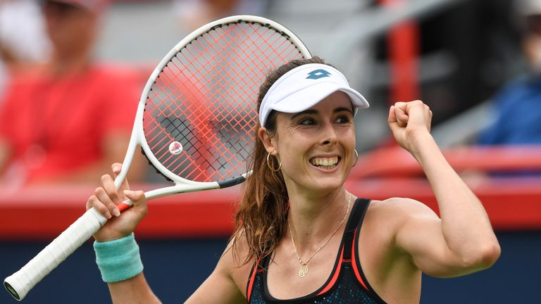 Alize Cornet celebrates her second win against Kerber
