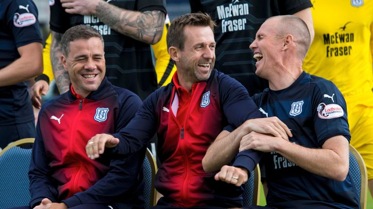 Dundee manager Neil McCann (centre) brought in former Livingston player/manager Kenny Miller to boost his club's striking options in the transfer window