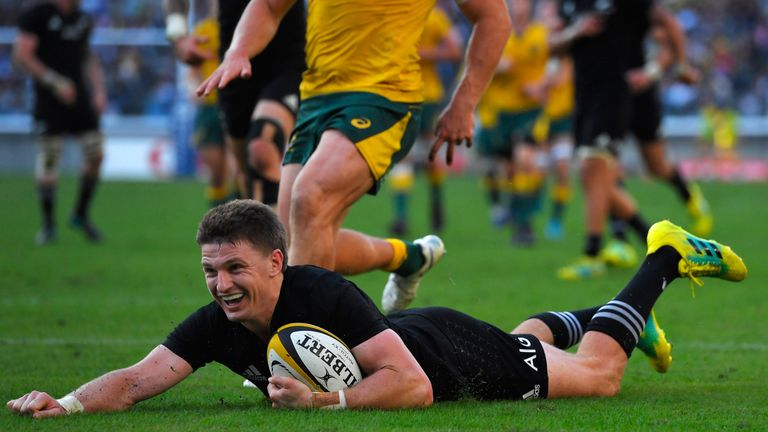 Beauden Barrett has scored seven tries in eight appearances for the All Blacks in 2018