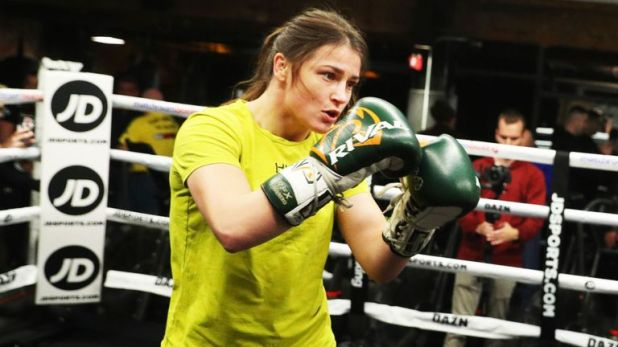 Katie Taylor in action at Wednesday's public workout