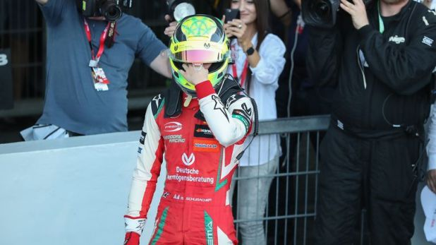 Mick Schumacher was emotional as he clinched the Formula 3 title on home soil