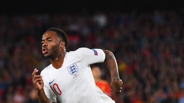 Raheem Sterling wheels away after putting England ahead