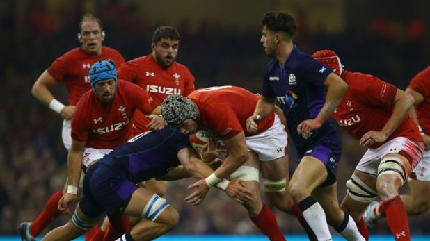Dan Lydiate carries strongly for Wales
