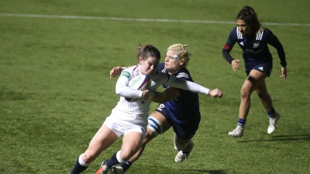 England's Leanne Riley runs in to score her side's first try